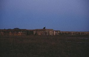 The ocean front of Fort Pickens just prior to dusk. When the fort was orginally completed, it was located 150 yards from the water. Over time, the shifting sand of the island has resulted in the fort being significantly farther from the waters edge.